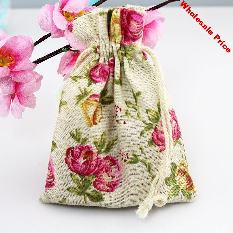 10x14cm 50pcs/lot Cotton Bags Pink Flowers Print Drawstring gift bag wedding favor Candy jewelry Packaging Bags Linen pouch Bag