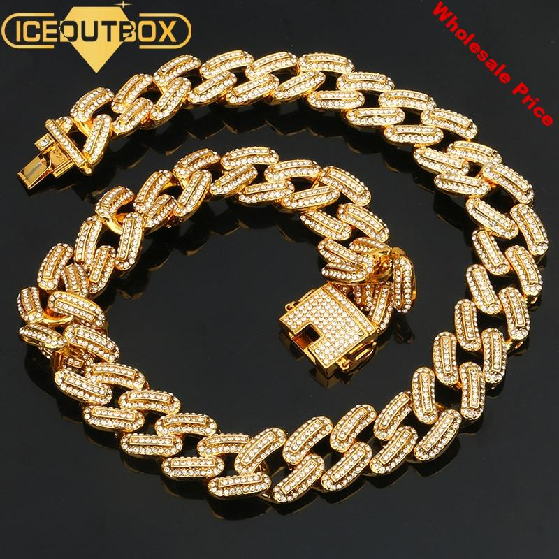 Luxury 20mm Iced Out Miami Cuban Chains Necklace For Men Gold Silver Hip Hop Iced Out Paved Bling CZ Rapper Necklace Jewelry