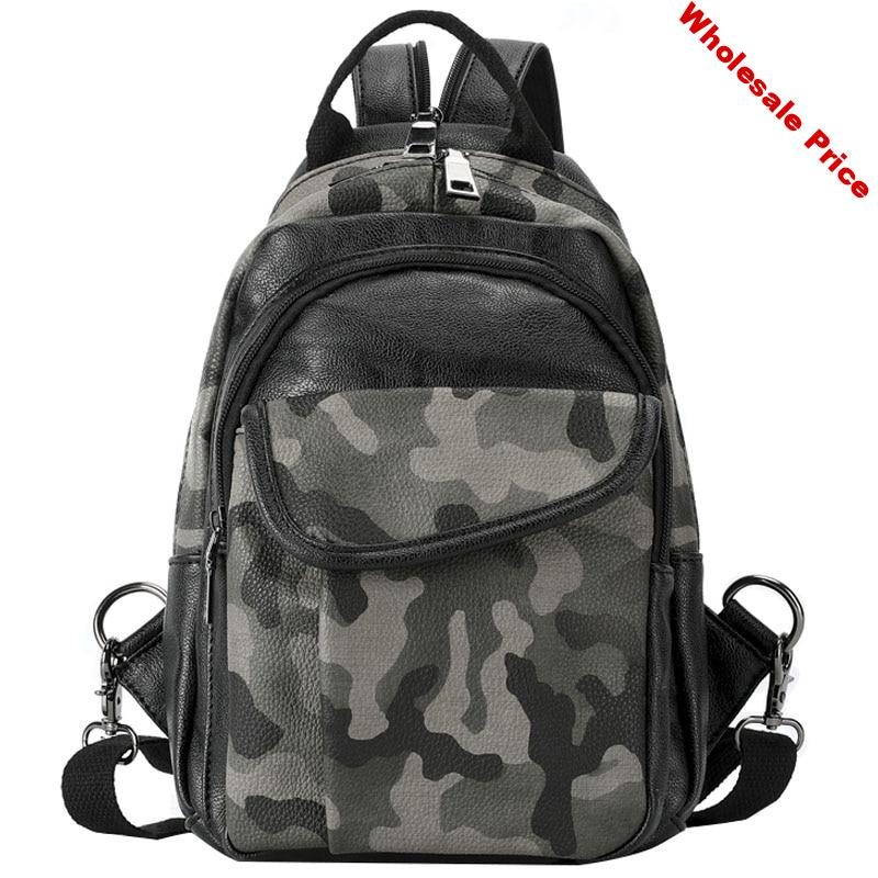 Men's PU Simple Fashion Camouflage Backpack Classic Design Large Capacity Mobile Phone Storage Bag Youth Leisure Travel Bag