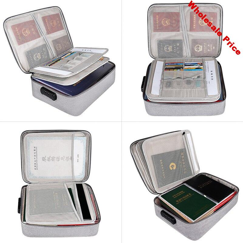 New Solid Business Simple Multi-pockets Certificates Bills Invoice A4 Paper Documents Storage Bags Organizer case Box