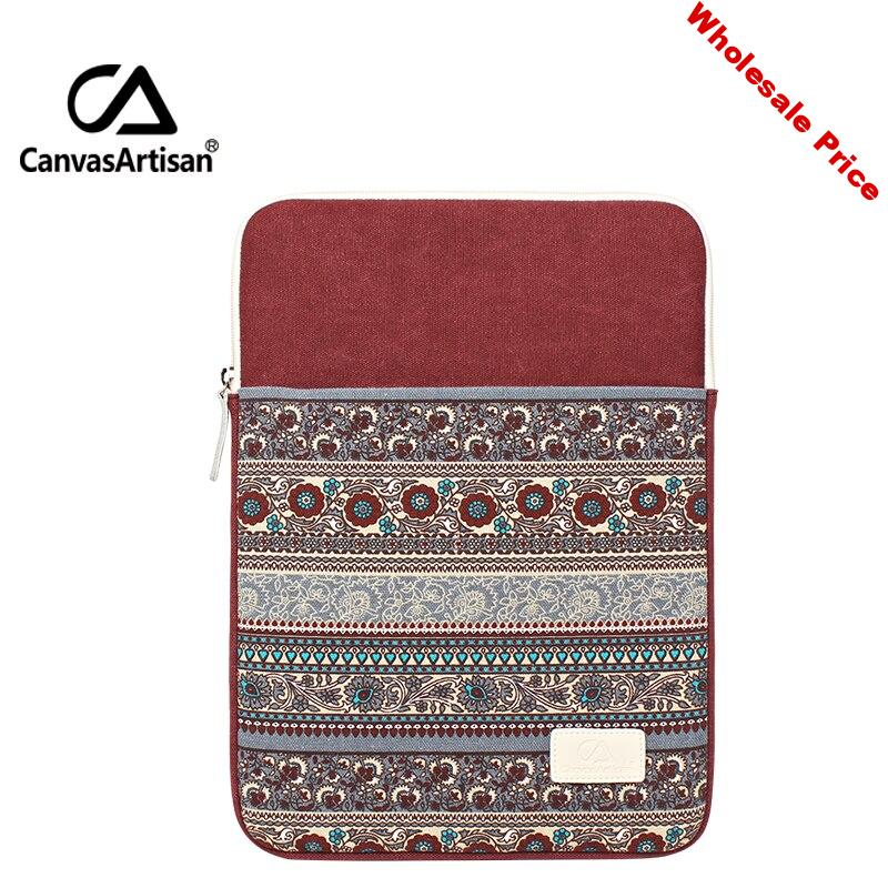 """Canvasartisan 14"""" practical protective laptop sleeves canvas bag retro style unisex briefcases bags with zipper pockets14 inch"""