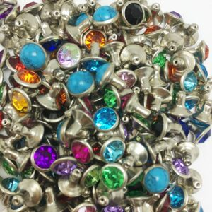 1000Sets 6mm Mixed Color Crystals Rhinestone Rivets Silver Nailhead Colorful Crystal Studs Rivets Leather DIY Shoe Bag