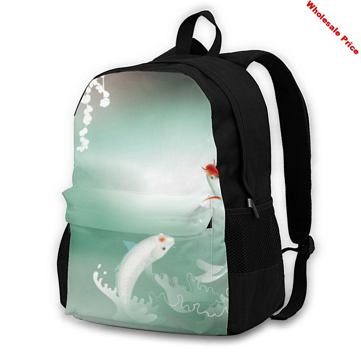 Laptop Backpack Women Canvas Backpack School Teenagers Casual Travel Japanese Koi Carps Playing In Pond Bags
