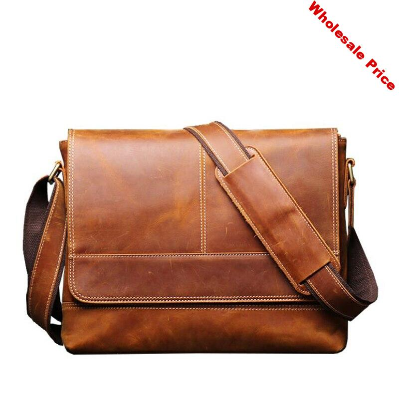 Messenger Bag Men's High Quality Genuine Leather Crossbody Bags Male Briefcase Shoulder Bag for Men Retro Natural Leather Bag