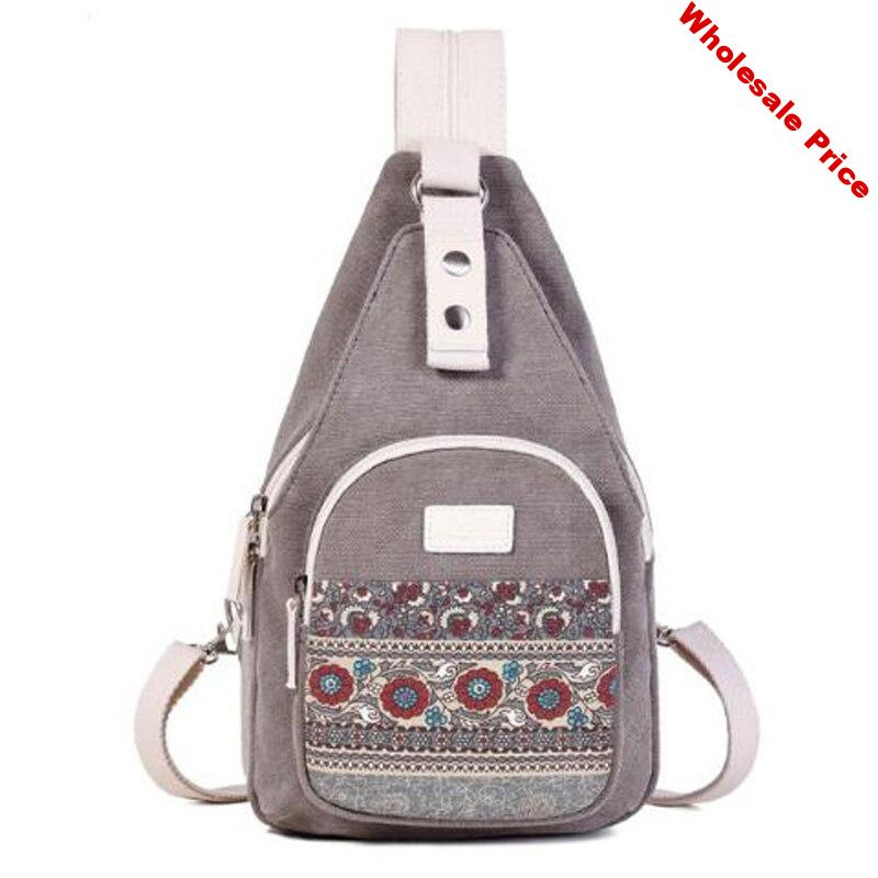 Canvas Chest Bag Unisex Casual Bag Personality Ethnic Style Retro Shoulder Bag Backpack