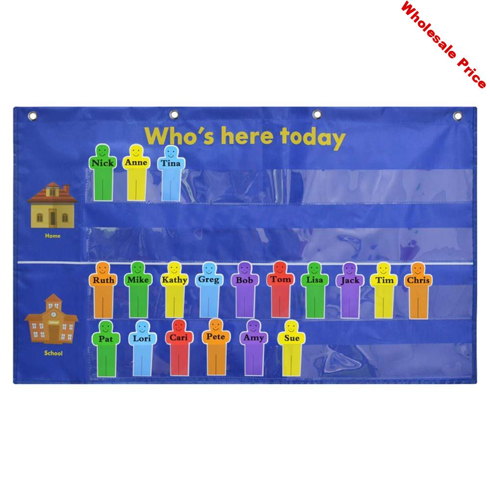 Godery Who Is Here Today Attendance Pocket Chart Suitable for Classroom