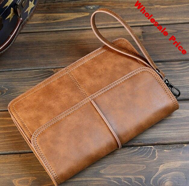 Retro Simple Men Mini Briefcase Easy-to-carry Leather Commuter Bag Mens Multifunction Envelope Work Bags Bolso Hombre DF271
