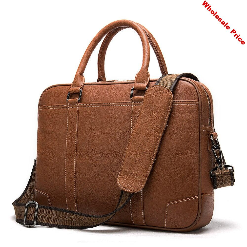 2020 men's briefcase 100% genuine leather laptop bag men leather office bags for men porte document business handbag for men