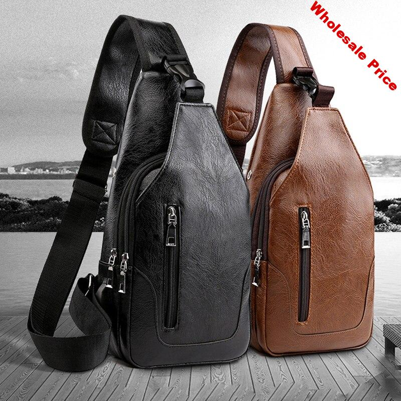 men's Bag Double Pull Large Capacity PU Leather Fashion Casual Multifunction Wild Lock Buckle Shoulder Diagonal Chest Riding Bag