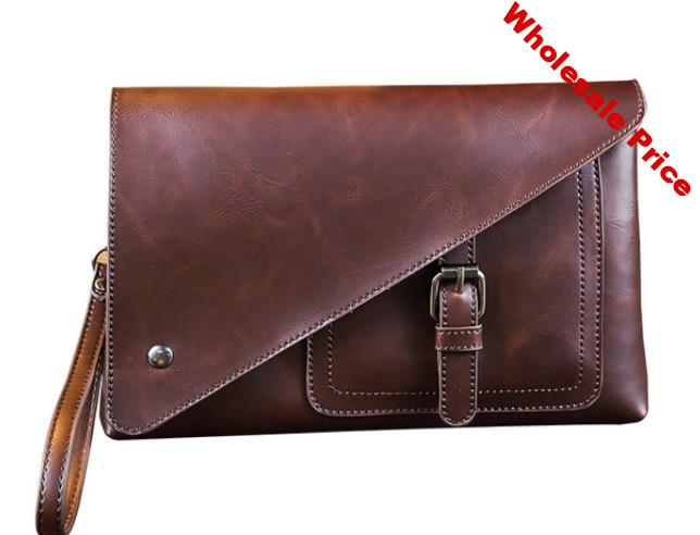 Leather Envelope Briefcase Stylish Retro Men Dapper Small Business Bag Exquisite Mens Office Multi Use Bags Bolso Hombre DF270