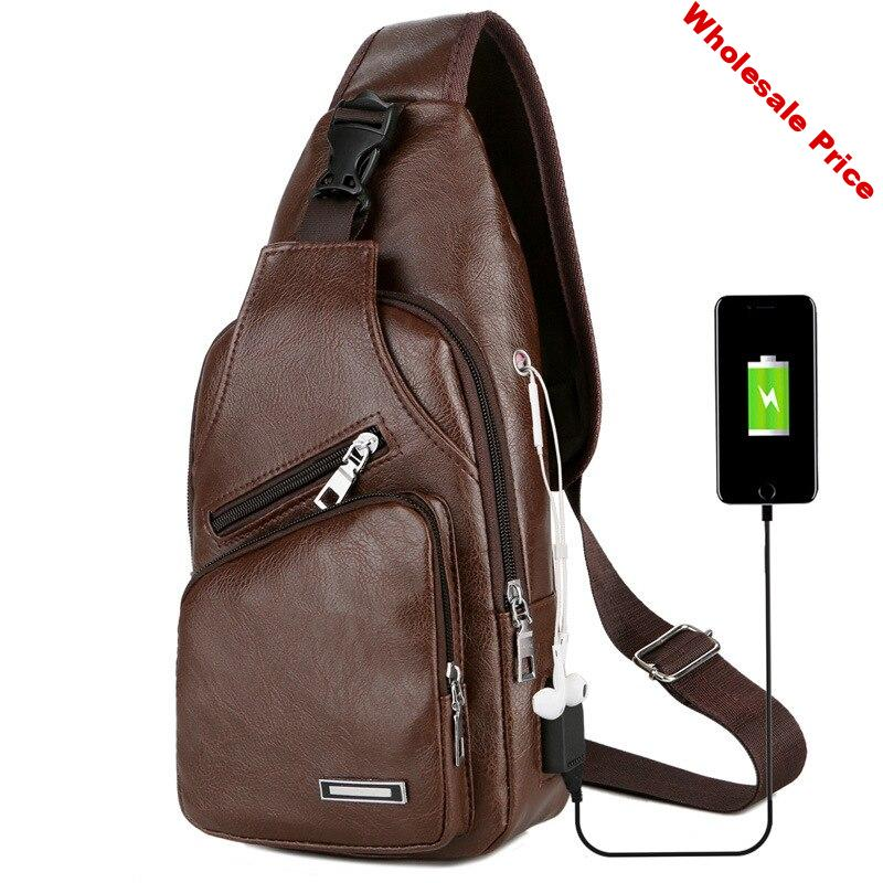 New KUBUG USB Charging Chest Bag Casual Fashion Shoulder Crossbody Packs Men's Leather Chest Bag Mobile Phone Bags