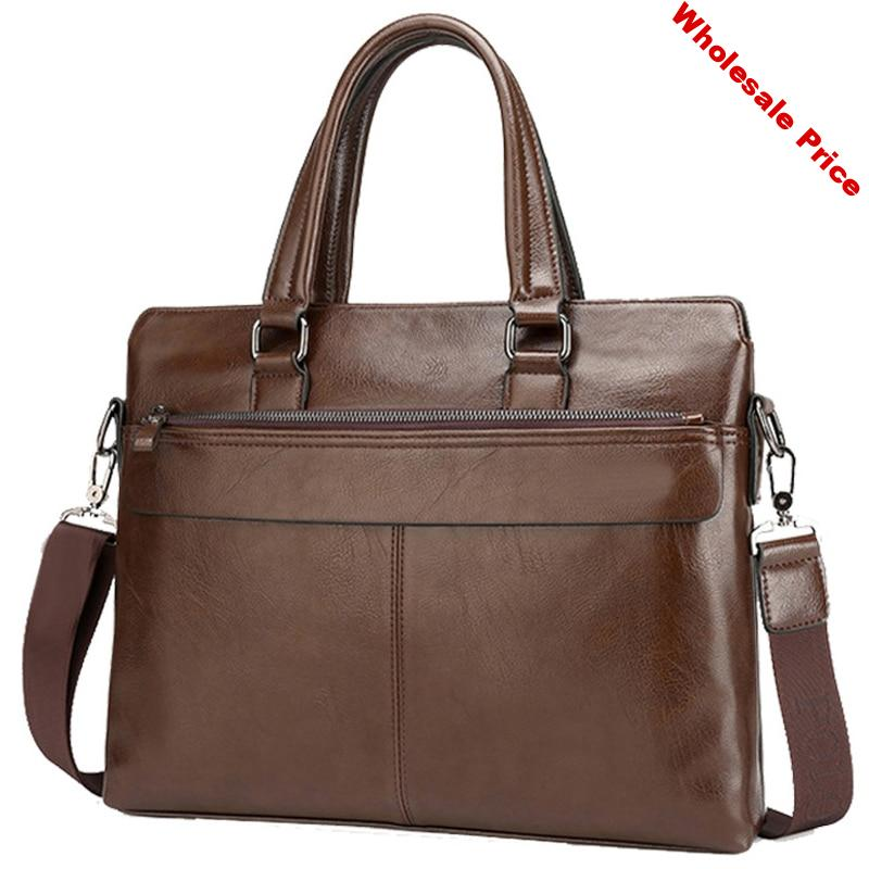 Larger Capacity Men Handbag Casual PU Leather Zipper Men Shoulder Bag Laptop 15 Inches Length Business Briefcases Bags Brand