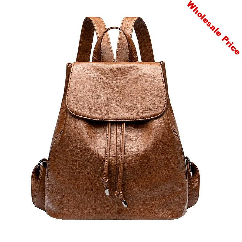 Kajie Women Backpack High Quality Genuine Leather Fashion Causal Bags High Quality Cowskin Female Shoulder Backpacks For Girls