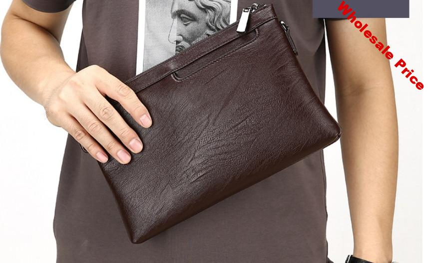 Fashion Men Thin Small Briefcase Soft Leather Business Style Bag Multifunctional Mens Simple Style Office Bags Carteira DF266