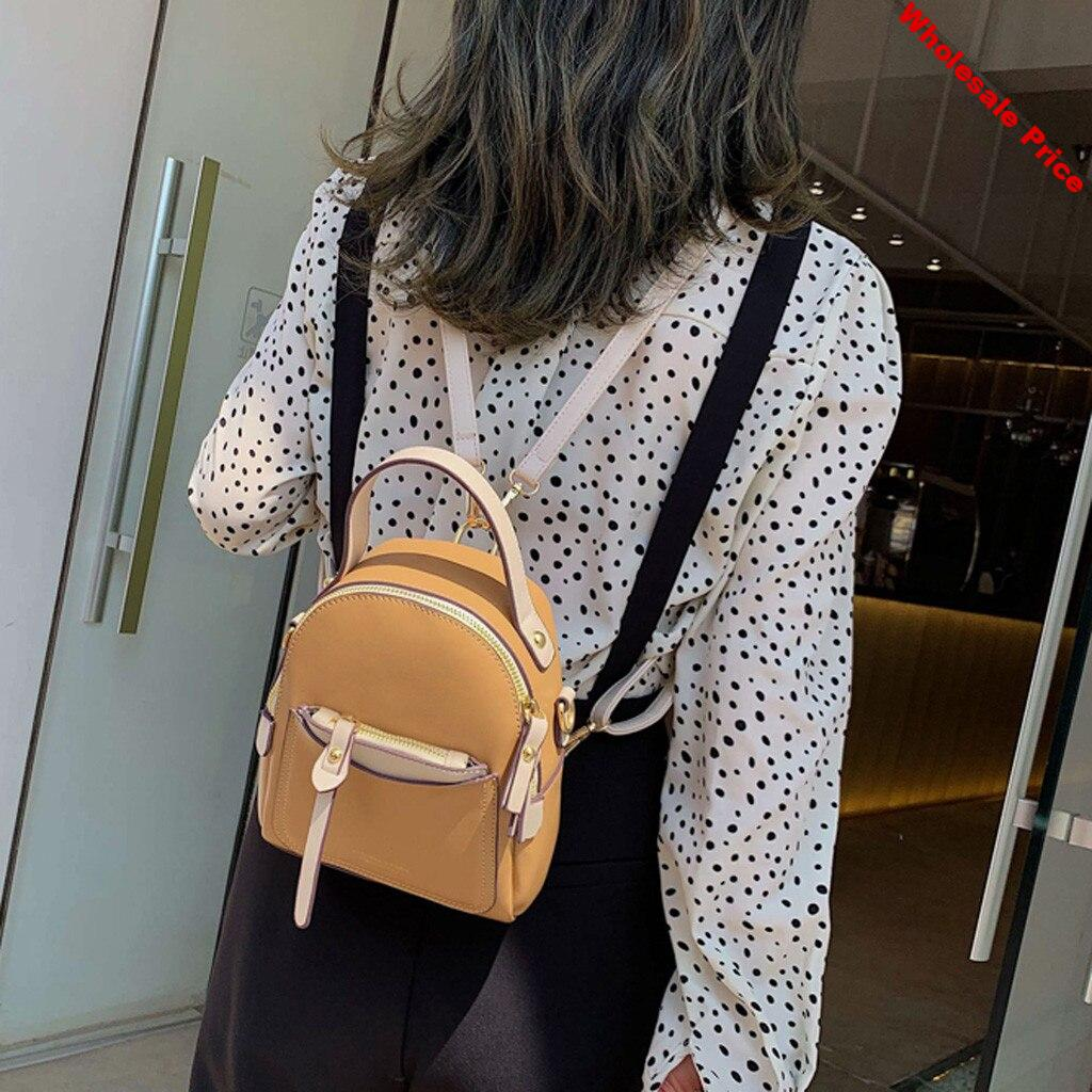 New Fashion Women Travel  Backpack Solid Color Small Backpack Female Ladies Shoulder Bag  Mobile Phone Purse 7.4