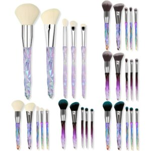 Hot Selling 5 tou ming bing Diamond Makeup Brush Full Set Crystal Makeup Rinse Set Foundation Eyeshadow Brush