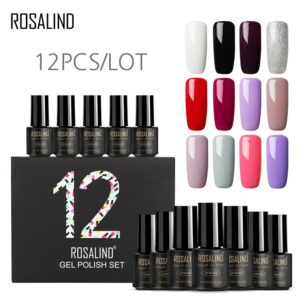 (12PCS/LOT) ROSALIND Gel Nail Polish for Nails 7ml Pure Colors UV Nail Art Semi Permanent Nail Gel Polish Varnish Manicure Set