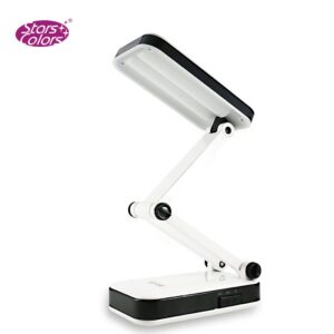 (90~240V / 2-Flat-Pin Plug) Foldable Rechargeable White Light Desk Lamp Eyelash Extension Flexible Eyelash LED Light
