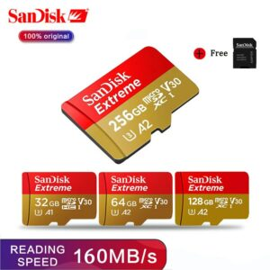 Sandisk Micro SD card A2 64GB 128GB 256GB 160Mb/s TF card SDHC/SDXC memory card A1 32GB 100MB/s With Adapter for PC/smartphone
