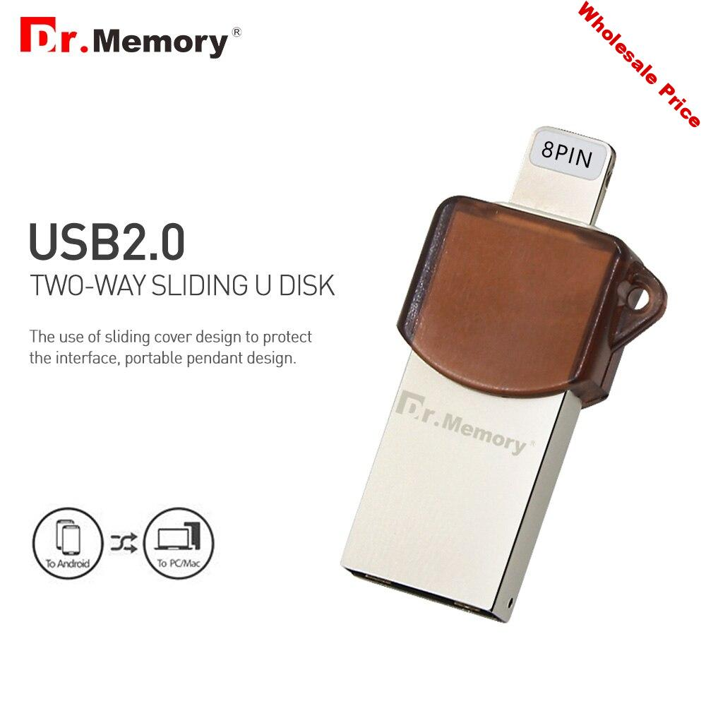 2in1 Metal OTG USB Flash Drive for IOS Tablets PC Mobile Phone Mini I Pendrive 16G 32GB 64GB Memory Stick for Iphone 6s 7 8 Plus