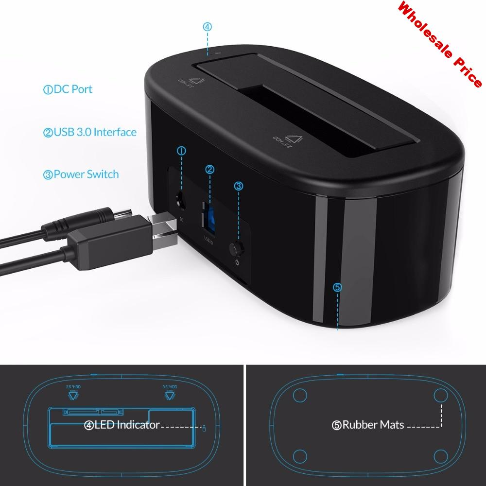 Orico Hdd Docking Station 5Gbps Super Speed Usb 3.0 To Sata Hard Drive Docking Station Tool 12V Free HDD For 3.5Inch Hard Drive