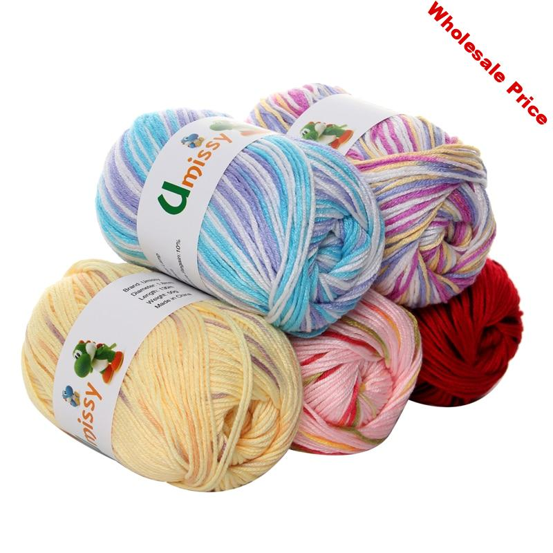 10pcs Soft Silk Fiber Cashmere Wool Yarns For Kids Eco-friendly Dyed Baby Yarn For Knitting Wholesale 500g/lot