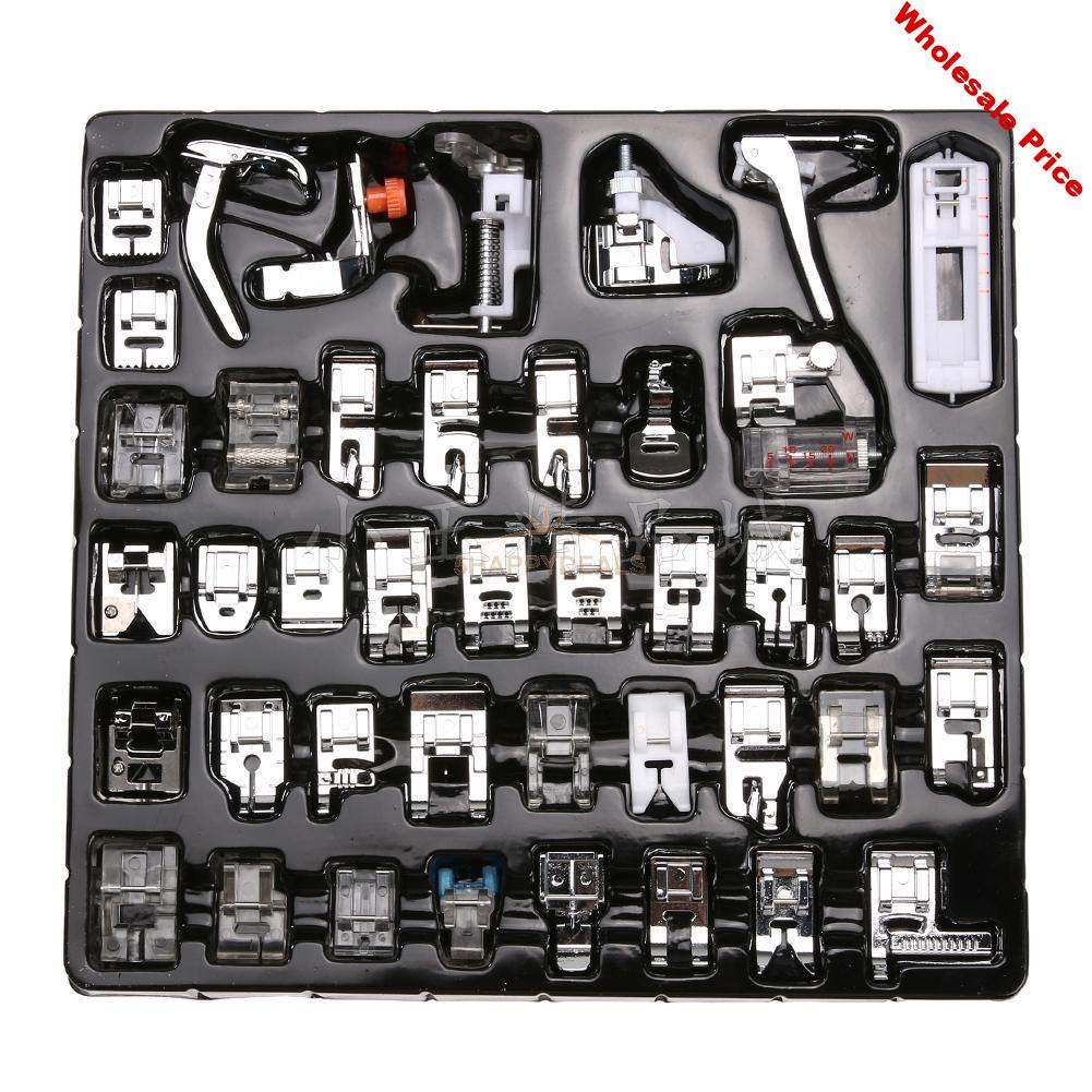 42Pcs Home Domestic Sewing Machine Presser Foot Feet Kit Set With Box For Brother Singer Janome Domestic Sewing Part Tool Kit