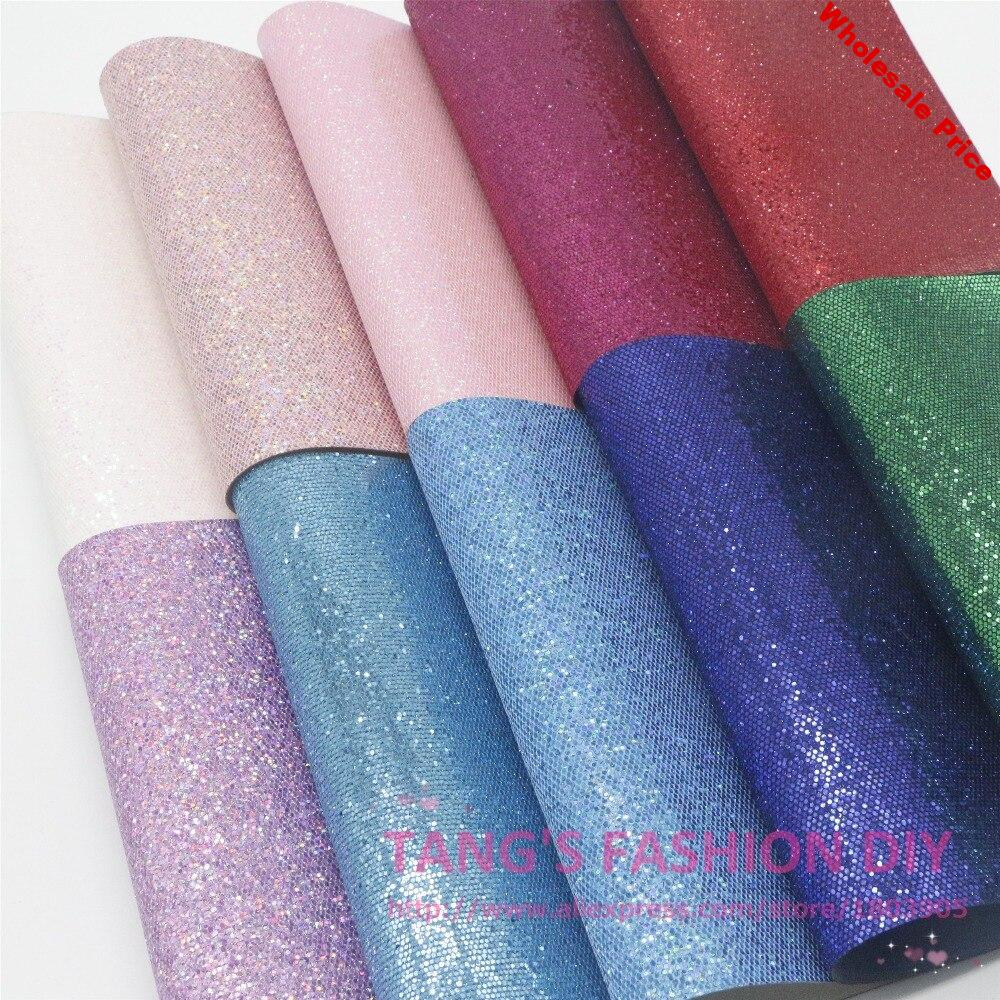 21PCS---High Qility DIY Small Grid  glitter Leather synthetic leather artificial leather