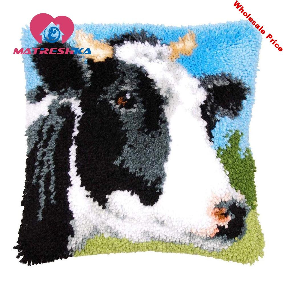 embroidery pillow cow carpet embroidery sale sets latch hook rug kits cross stitch pillow Foamiran for crafts do it yourself