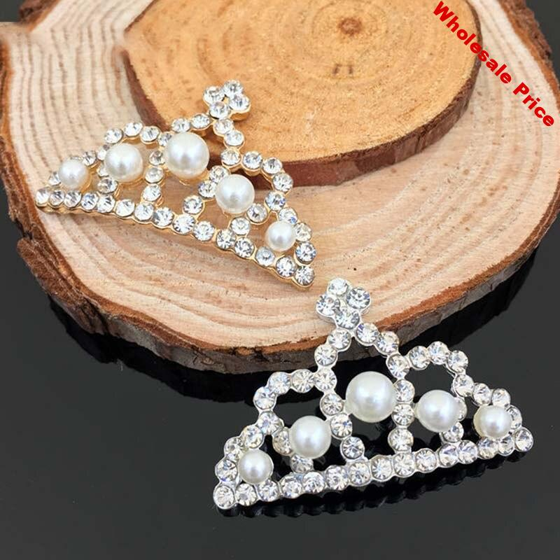 2016New 50Pcs Pearl Hollow Alloy Crown Shaped Rhinestone Button For DIY Hair or clothes Embellishment HZ28