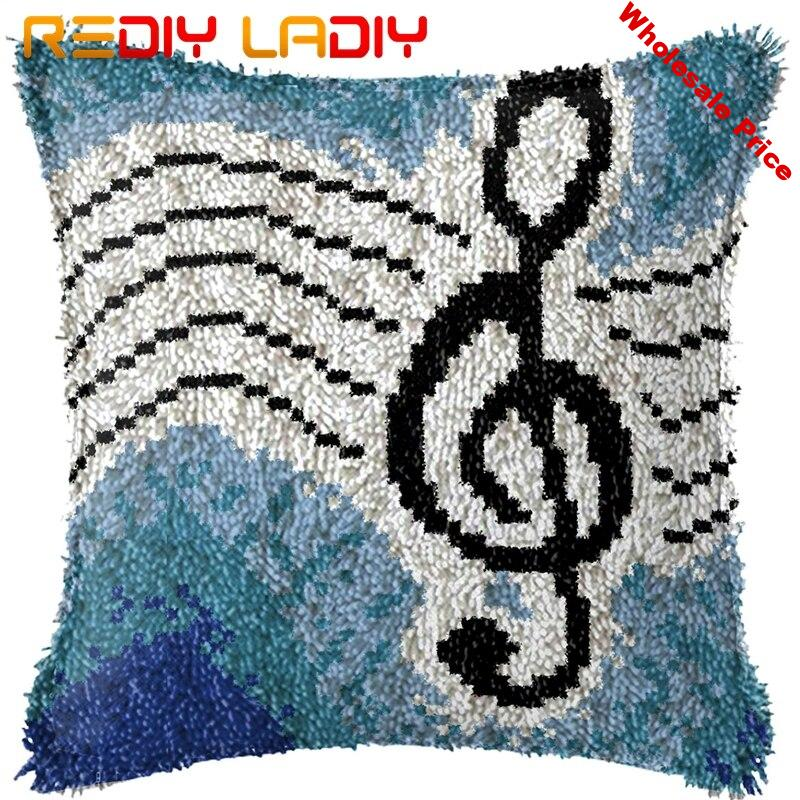 Latch Hook Kit Make Your Own Cushion Music Pattern Pre-Printed Canvas Crochet Pillow Case Latch Hook Cushion Cover Hobby & Craft
