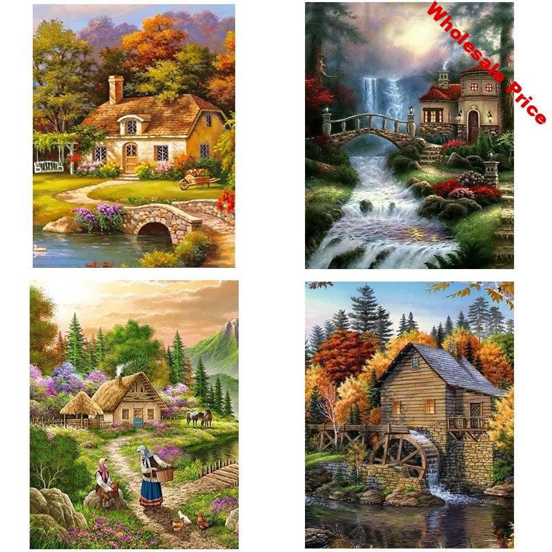 4Pieces/lot DIY House 5D Diamond Painting Full Round Drill Diamond Embroidery Landscape Cross Stitch Wall Art Home Decor