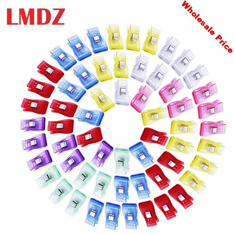 LMDZ 100 Pcs Sewing Clips Multicolor Plastic Clips Fabric Clamps Patchwork Craft Clips Clothing Clips Holder Quilting Clip