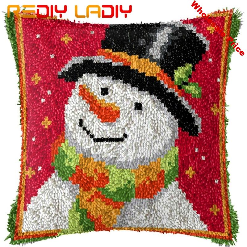 Latch Hook Kits Make Your Own Cushion Snowboy Hat Printed Canvas Crocheted Pillow Case Latch Hook Cushion Cover Hobby & Crafts