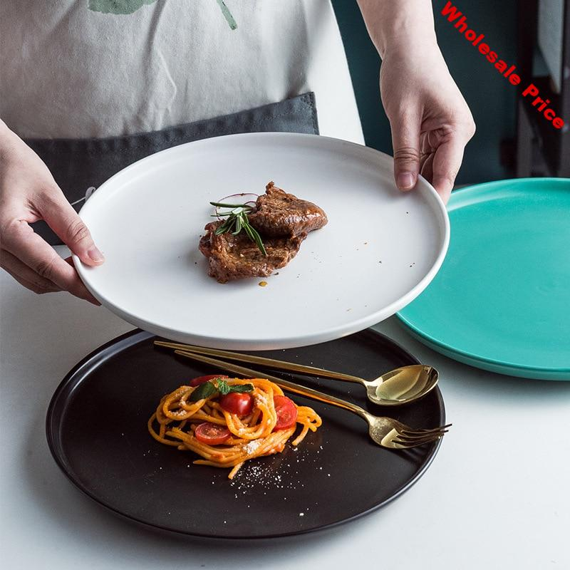 Nordic Solid Round Flat Ceramic Dinner Plate Matte Porcelain Pizza Baking Plate Steak Pasta Tray Fruit Nuts Snack Dishes Plate