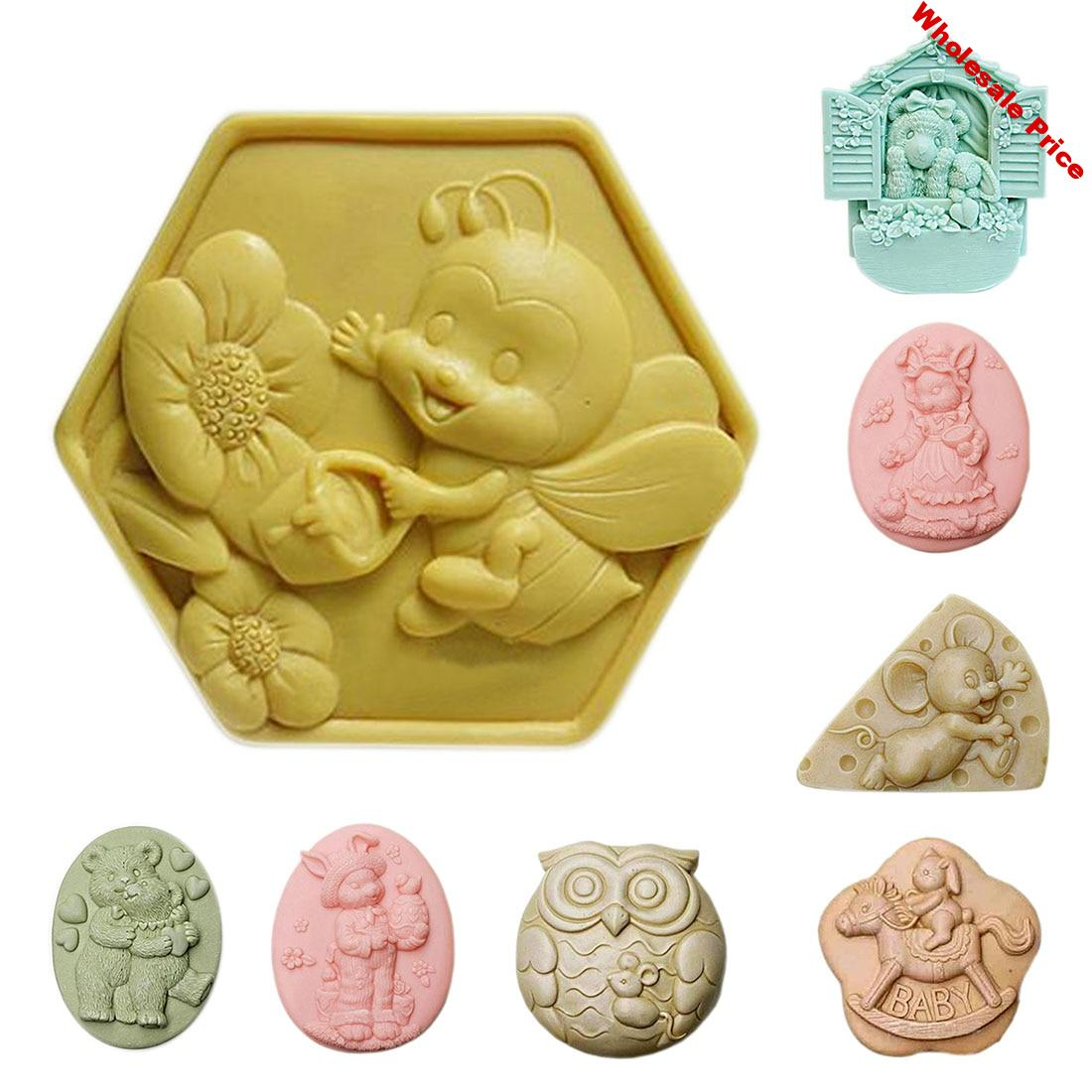 Animal Soap Silicon Molds Bee Soap Form Rabbit Soap Making Supplies Owl Soap Mold Bear Silicone Mold Soap