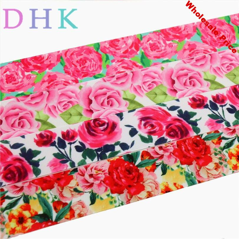 DHK 1.5'' Free shipping flowers rose printed grosgrain ribbon Accessory hairbow headwear DIY decoration 38mm S767