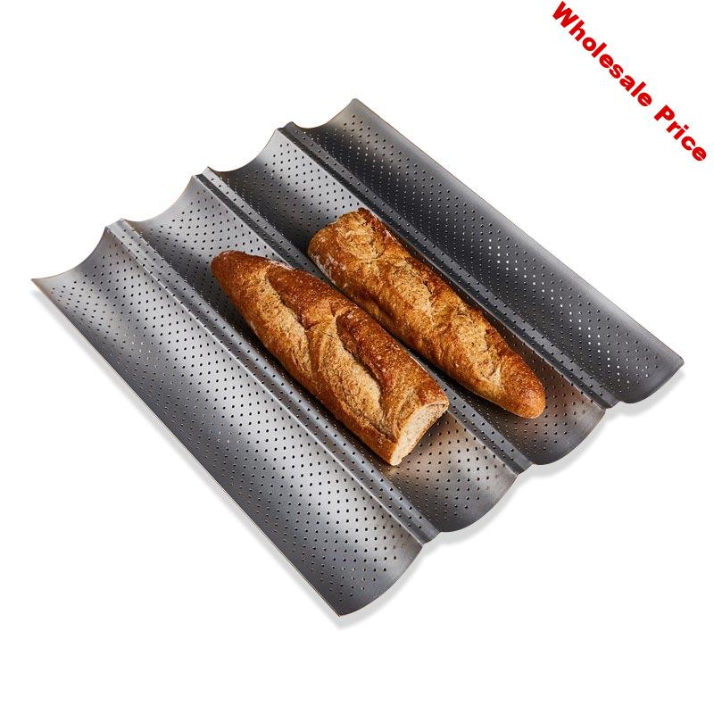 New 100% Food Grade Carbon Steel 4 Groove 3 Groove 2 Groove Wave French Bread Baking Tray For Baguette Bake Mold Pan Hot
