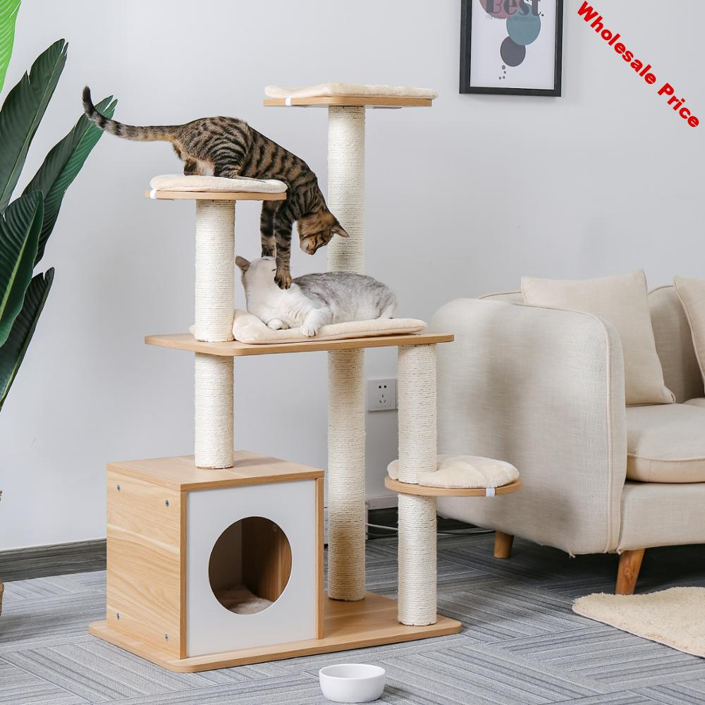 Fast Delivery Pet Cat Tree Tower Condo Wood Scratcher with Scratching Post for Cats Climbing Tree Toys Protecting Furniture Nest