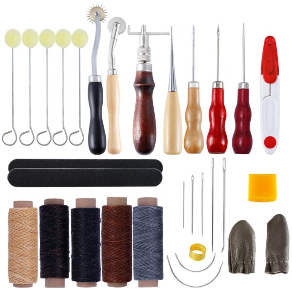 30pcs Leather Craft Stitching Tools Set with Hand Sewing Needles Awl Thimble Waxed Thread for DIY Leathercraft Sewing