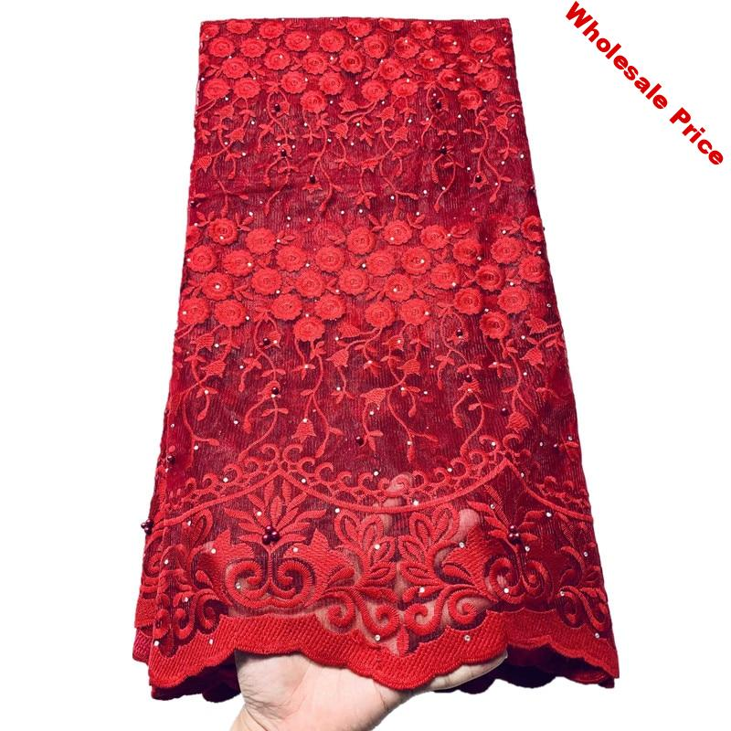 latest red lace fabric 2020 african fabric with stones 5 yards african fabric african lace fabric 2019 high quality lace