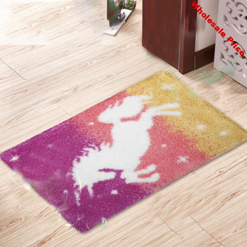 Cartoon Patterns Latch Hook Material Embroidery Carpet Horse Latch Hook Rug Kits Segment Embroidery Unfinished Do It Yourself