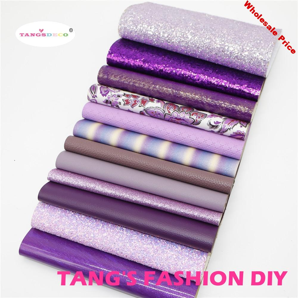 12pcs-High Quality NEW MIX STYLE purple color mix PU leather set/synthetic leather set/artificial leather