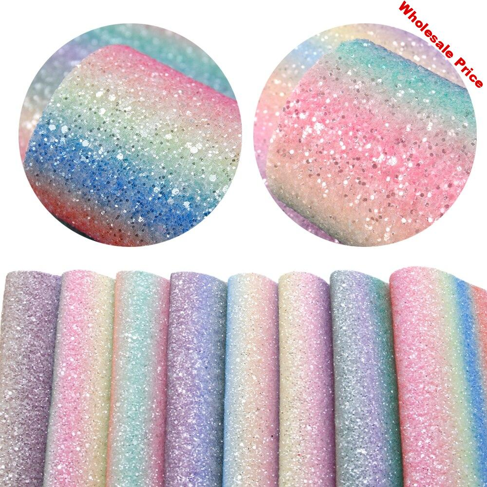 David accessories 8Pieces/set 20*34cm Glitter Rainbow Thick Texture Synthetic Leather Patchwork Hair Bow Handbag  DIY