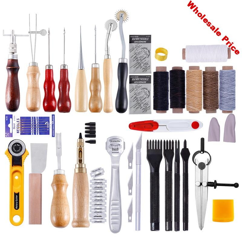 37/61/18/13Pcs in set Leather Craft Tools Kit for Handwork Sewing Stitching Punch Carving Work Saddle Leather craft Tool