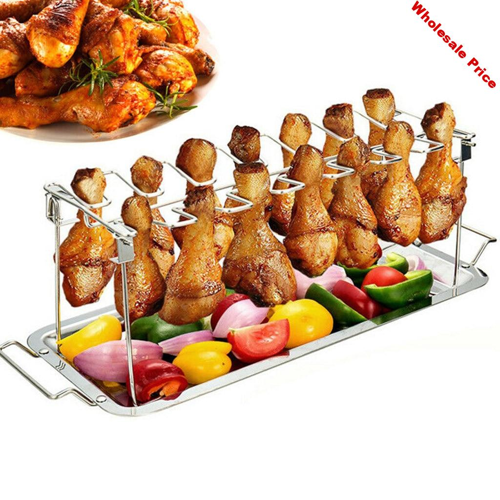 Stainless Steel Chicken Wing Leg Rack Grill Holder with Drip Pan for BBQ quality BBQ Rib Non Stick Carbon Steel drop shipping#30