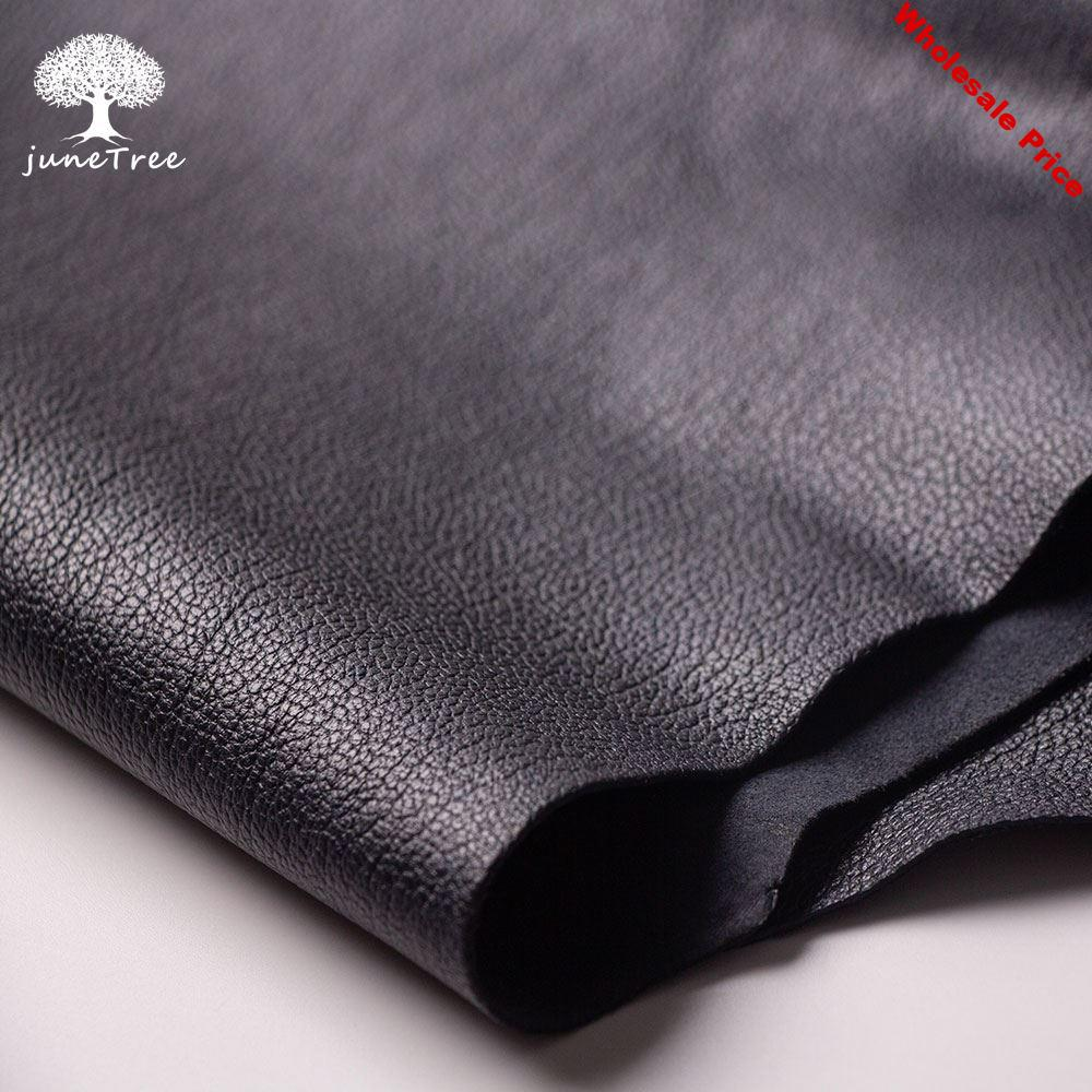 Junetree veg. tanned goat skin leather Genuine leather for leather craft shoe clothes bag thick 1.0-1.3mm black