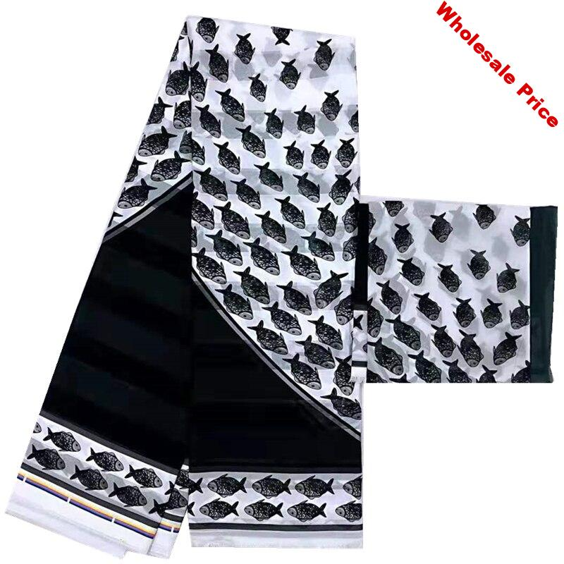 White & Black African fabric 2019 newest ribbon silk wax soft material hot selling african wax prints silk wax fabrics for dress