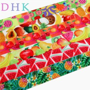DHK 7/8'' Free shipping fruit watermelon pineapple printed grosgrain ribbon Accessory hairbow headwear DIY decoration 22mm S744