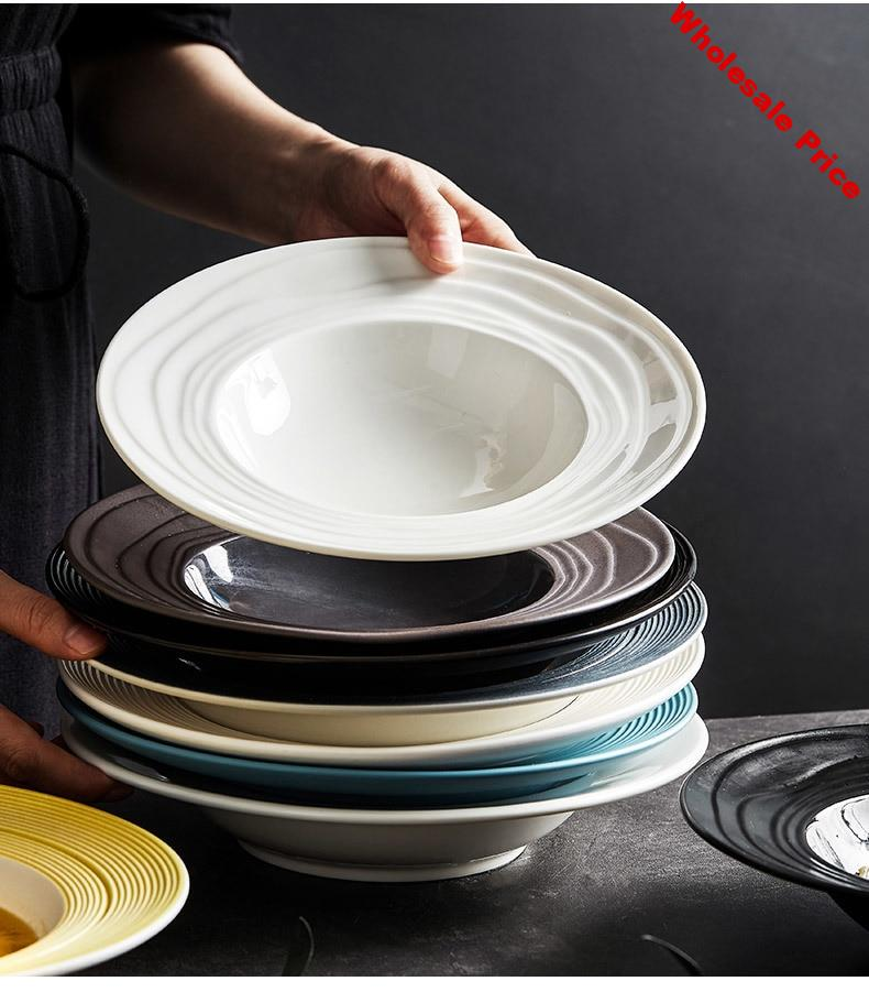 Ceramic pasta dish home straw hat dish pasta plate creative flat dish Nordic western food net red tableware soup plate